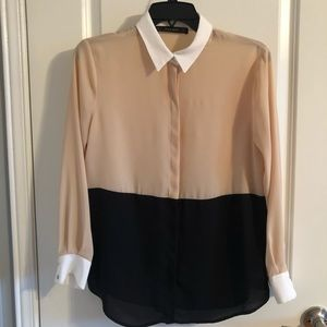 Zara two tone long sleeve blouse